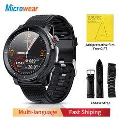 2020 Новый Microwear L15 Смарт-часы Для мужчин IP68 Водонепроницаемый сна монитор ЭКГ крови Давление сердечного ритма спортивные Фитнес Смарт-часы