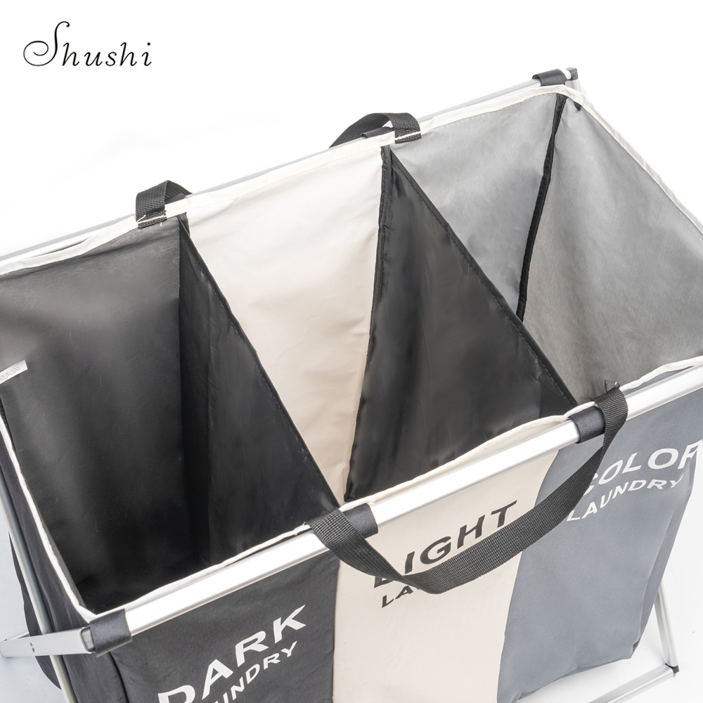 Image 4 - Shushi Foldable Dirty Laundry Basket Organizer Collapsible Three Grid Home Laundry Hamper Sorter Waterproof Laundry Basket Large-in Storage Baskets from Home & Garden
