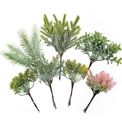 6 pcs/bundle artificial plant grass pine for diy wedding wreath Christmas garland home decoration accessories artificial flowers