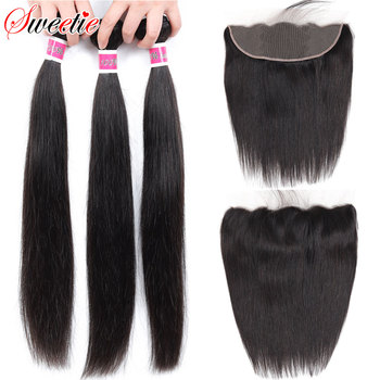 Sweetie 13X4 Ear To Ear Lace Frontal Closure With Bundles Peruvian Straight Human Hair Bundles With Frontal Non-Remy Hair image