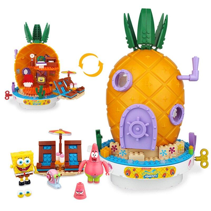 New SpongeBob Music Pineapple House Model Block Compatible  Bricks Building Blocks Education Toys For Children Kids Gift