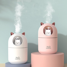 300ML USB Air Humidifier Ultrasonic Cool Mist Maker Fogger with Colorful Lamp Cute Cat Mini Aroma Diffuser Humidificador Difusor