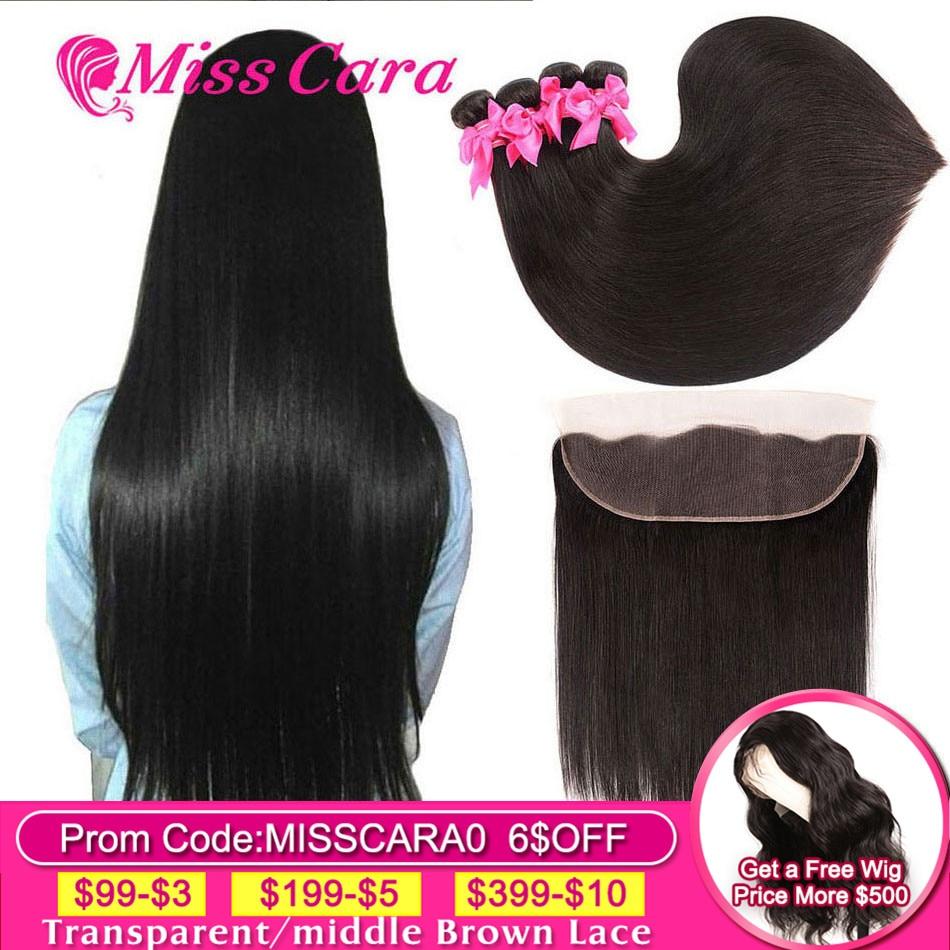 Pacotes de cabelo reto peruano com frontal miss cara 100% remy cabelo humano 3/4 pacotes com fechamento 13*4 frontal com pacotes