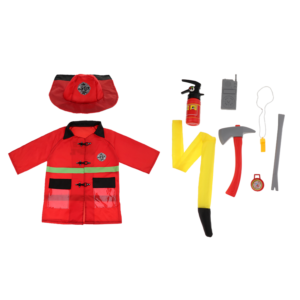9-in-1 Washable Kids Fireman Costume Kit For Toddlers, Boys And Girls With Complete Firefighter Accessories