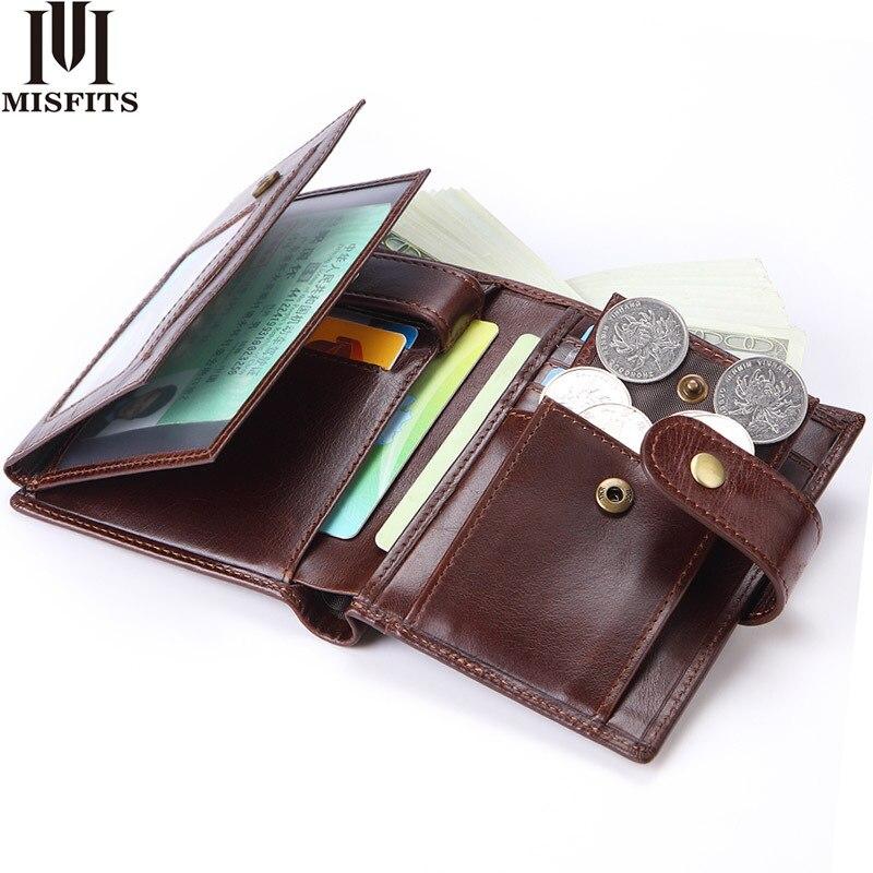 MISFITS Men Wallets Genuine Leather Purse Mens Money Bag Card Holder Wallet Man Leather Coin Pocket Wallet Male