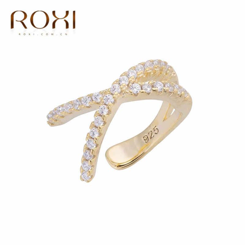 ROXI 925 Sterling Silver Cross Del Polsino Dell'orecchio Non Trafitto Orecchini per Le Donne Micro Pavimenta CZ Piccola Clip su Orecchini Cartilagine gioielli