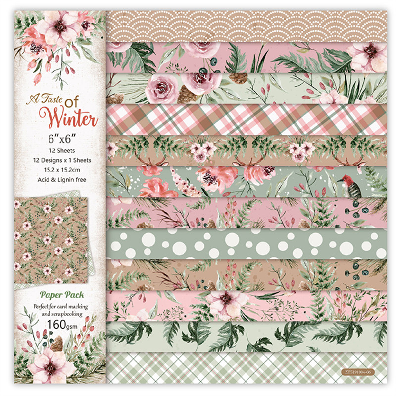 Background-Pad Paper-Pack Craft-Paper Flower Scrapbooking Handmade Winter 12pc title=
