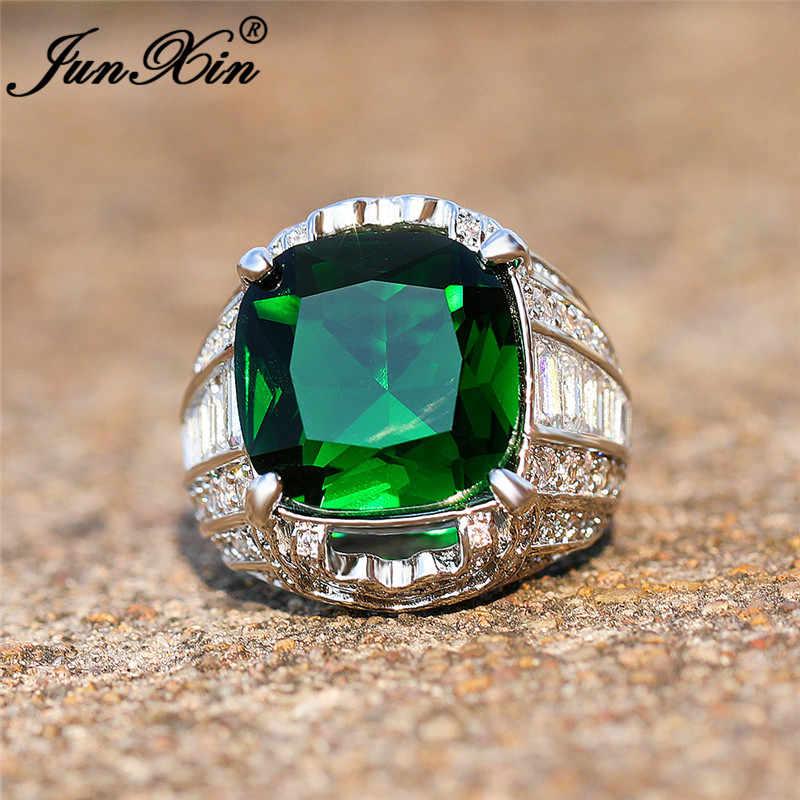 Vintage Geometric Big Green Stone แหวนผู้ชายผู้หญิงเงิน 925 สี Boho Party งานแต่งงาน CZ หมั้นแหวนเครื่องประดับ