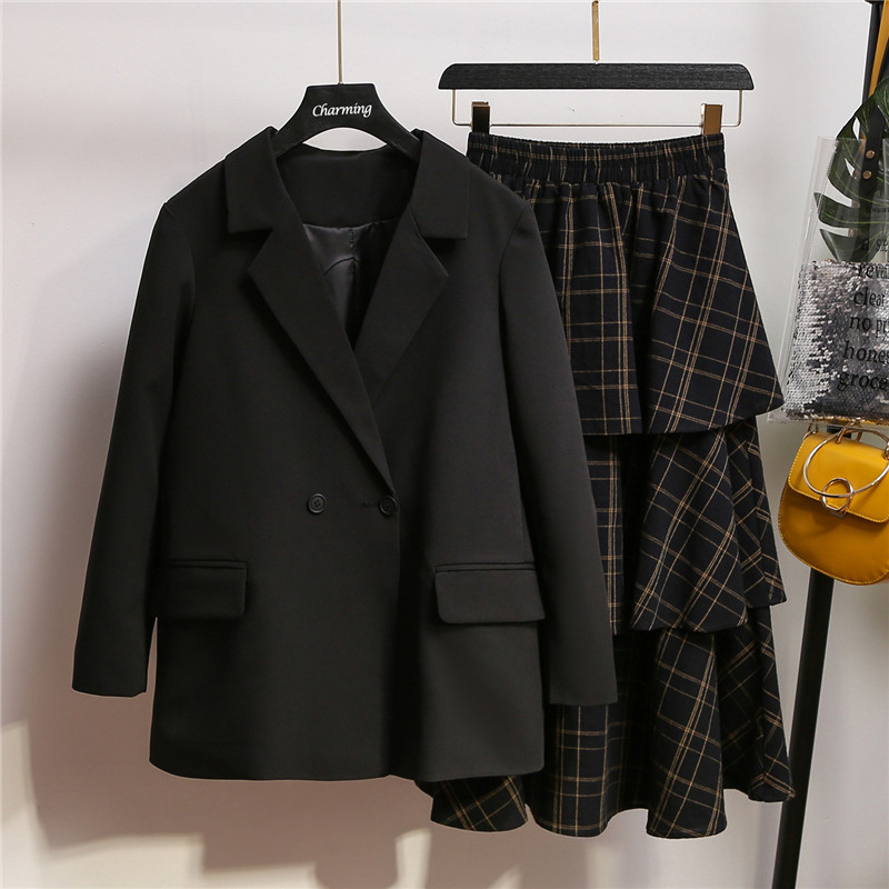 Autumn Fashion Women Skirt Suits Double Button Notched Blazer Jackets And Slim Mid Plaid Skirts 2 Sets Female Outfits Plus 5XL