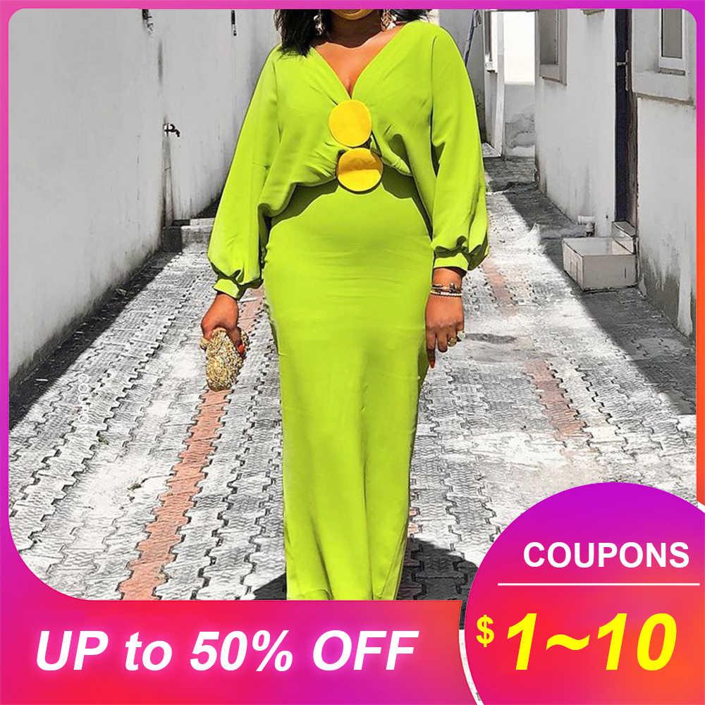 Ярко-зеленое женское платье макси в африканском стиле, Осенние вечерние платья с v-образным вырезом и рукавами-фонариками, элегантное платье, 2019
