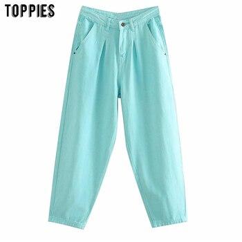 Toppies 2020 Women Jean Pants Solid Color Denim Harem Pants Loose Plus Size Trousers Fashion Streetwear