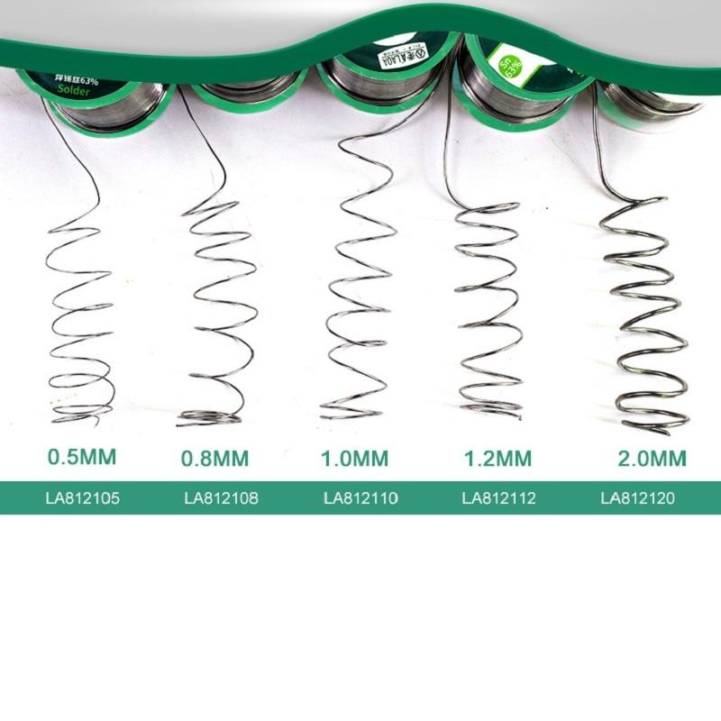 Купить с кэшбэком 1 PCS 400G LAOA Soldering Tin Wire Solder Wick 63% Content 0.8-2.3mm Solder Wire Welding Wires