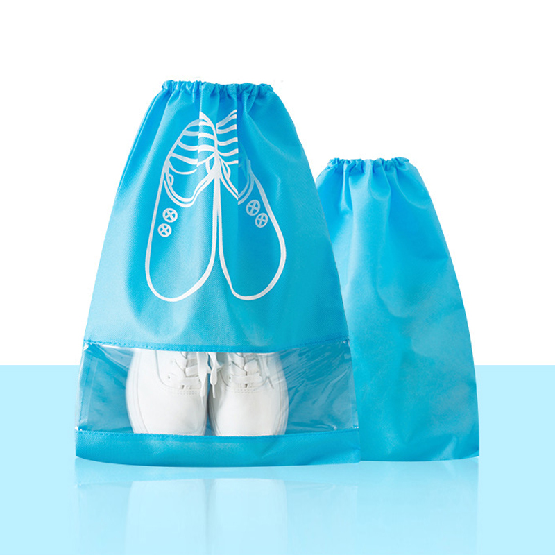 Portable Organizer Shoes Storage Bag with Drawstring Dustproof Hanging Save Space Travel Supplies  WHShopping