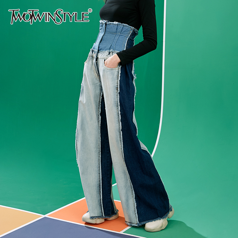 TWOTWINSTYLE Casual Denim Patchwork Women Trousers High Waist Hit Color Long Wide Leg Pants For Female Fashion Spring 2020 Tide