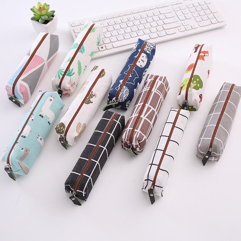 Korean Simple Small Fresh Canvas Checked Pencil Bag Cartoon Student Stationery Pencil Case Storage Supplies