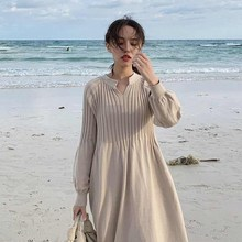 Fashion 2019 New V-Neck Lantern Sleeve Mid Knitted Dress Women Spring Casua High Waist Dresses Knit A-Line Loose Dress цена