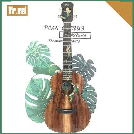 Укулеле Mr.mai Mermaid, 26 дюймов, тенор, твердый коавуд ручной работы, 4 струны, гитара с глянцевой отделкой, Жесткий Чехол/каподастр/тюнер/ремешок 4
