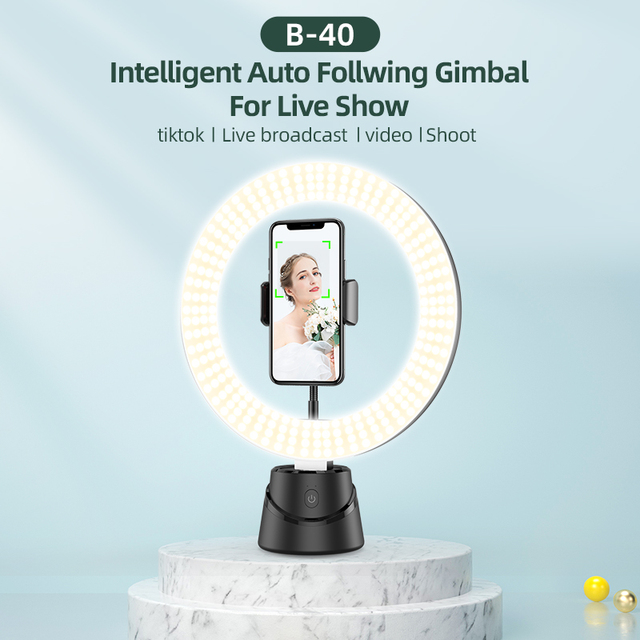 B-40 Universal 360° Rotation Intelligent AI Follow Gimbal LED Ring Fill Light with Base Professional Live Equipment for iPhone