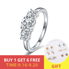XiaoJing 925 Sterling Silver Romantic Wedding Rings Finger Ring with Three Clear CZ Original Fine Jewelry For Women Wholesale