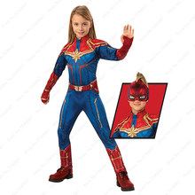 Halloween Cosplay Deluxe Captain Marvel Children Movie Hero Jumpsuit Superhero Bodysuit Mask Belt Kids Carnival Party Costumes(China)