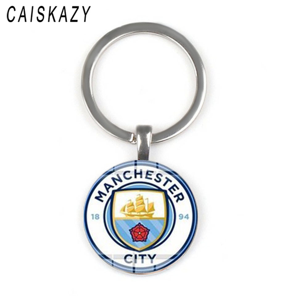 World Sports Team Logo Football Glass Cabochon Keychain For Men