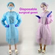 10 шт Розовый одноразовый хирургический халат тонкий и светильник Пылезащитная одежда комбинезоны одноразовые фартуки медицинская одежда для стерильных помещений