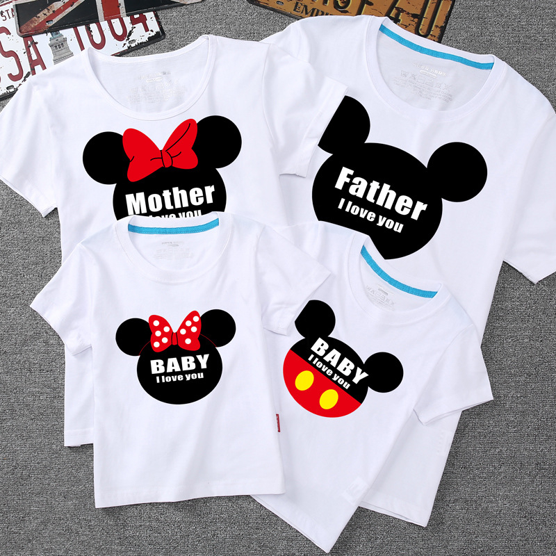 Family Matching Outfits Daddy Mommy And Me Clothes Family Outfits Mickey Minnie Cotton Short Sleeve Top Family Matching Clothes