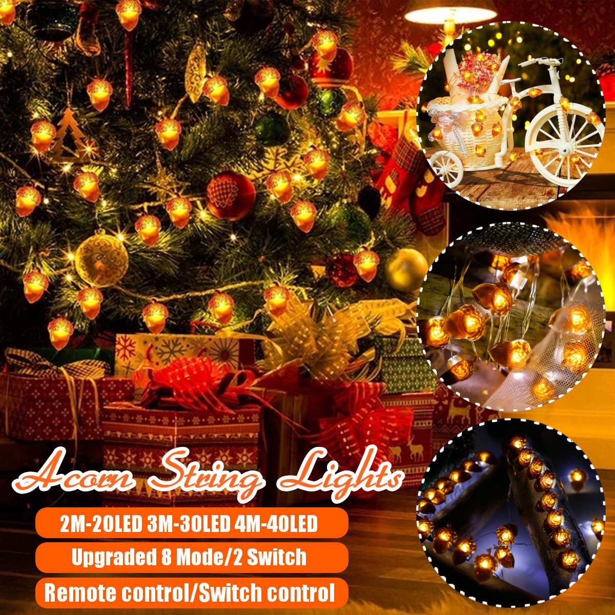 10/20/30LED Battery Operated Christmas Acorn Nut Shaped String Lights Holiday Fairy Lights Decorative Silver Wire Halloween Lamp