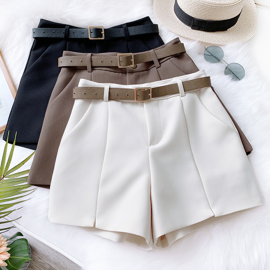 REALEFT Spring Summer New 2020 Women Wide Leg Shorts With Belt High Waist Korean OL Style Shorts Female Pockets Work Wear Shorts