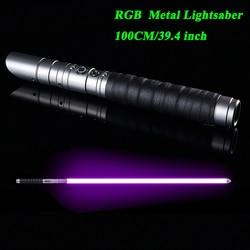 TXQsaber горячий RGB световой меч, металлическая ручка тяжелой дуэли, 12 Изменение цвета Регулировка громкости сила FX 6 Soundfons FOC