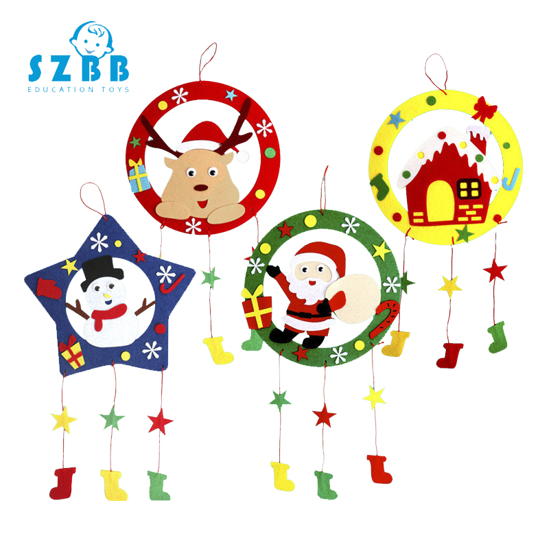 Nonwoven Fabric Wreath Kindergarten DIY Manual Pendant Wreath American Country Christmas Decoration Material Package