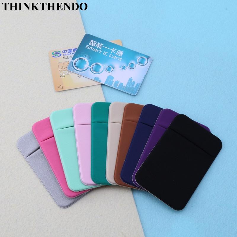 Mobile Phone Credit Card Wallet Holder Pocket Stick On Adhesive Elastic Tool