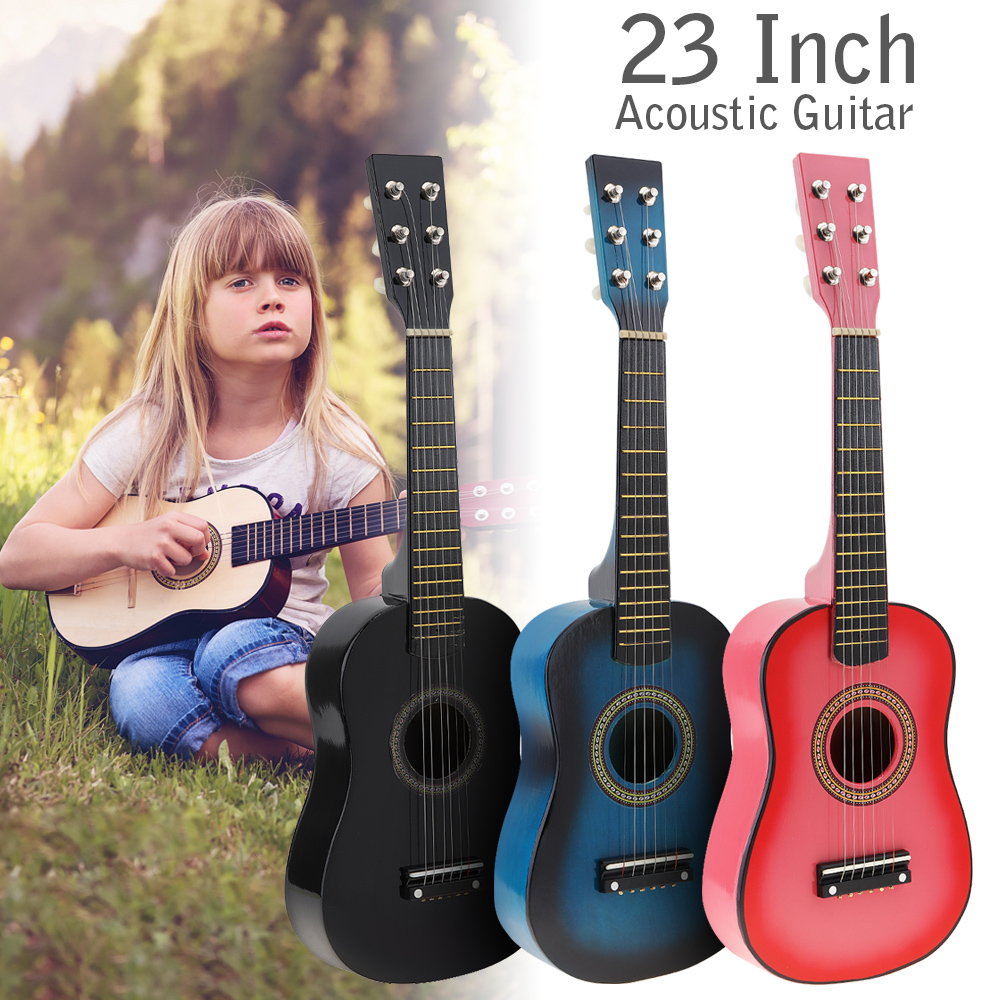 23 Inch Black Basswood Acoustic Guitar With Guitar Pick Wire Strings For Children And Beginner