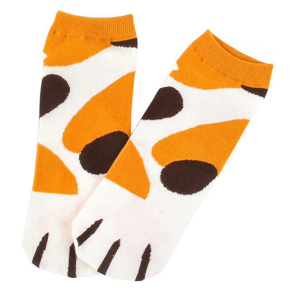 Womail 2 Pairs Cute Cat Paw Socks Cotton Ankle Short Sock One Size Fits All Women Socks Cotton Winter