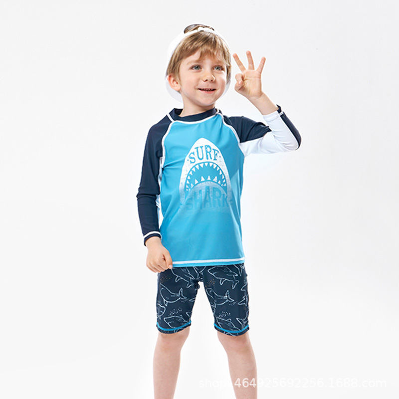 KID'S Swimwear BOY'S Split Type Small CHILDREN'S Big Boy Quick-Dry Tops Swimming Trunks Baby Long Sleeve Sun-resistant Swimsuit