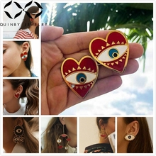 Quinby Long Drop Earrings Women Red Heart Earring Dangle Enemal Street Snape Evil Eye Big Hoop Eardrop Trendy aretes Q5