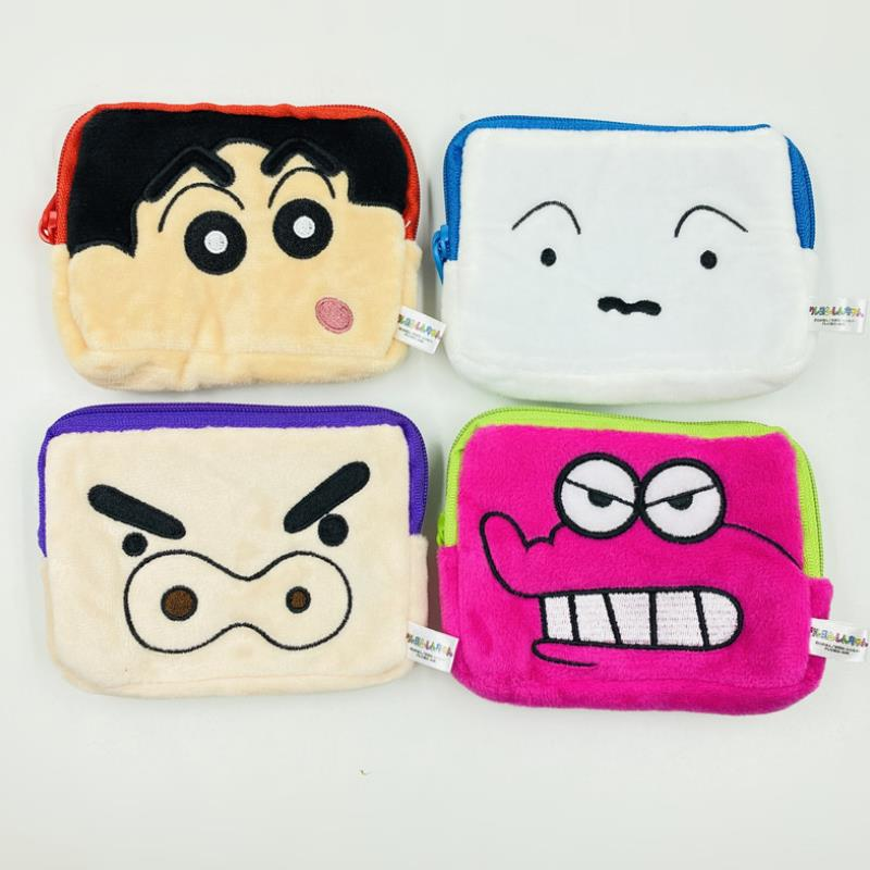 1pc Japanese Cartoon Crayon Shin Chan Plush Wallet Card Bag Cute Pig Dinosaur Coin Bag Plush Toys For Kids Girl Gift