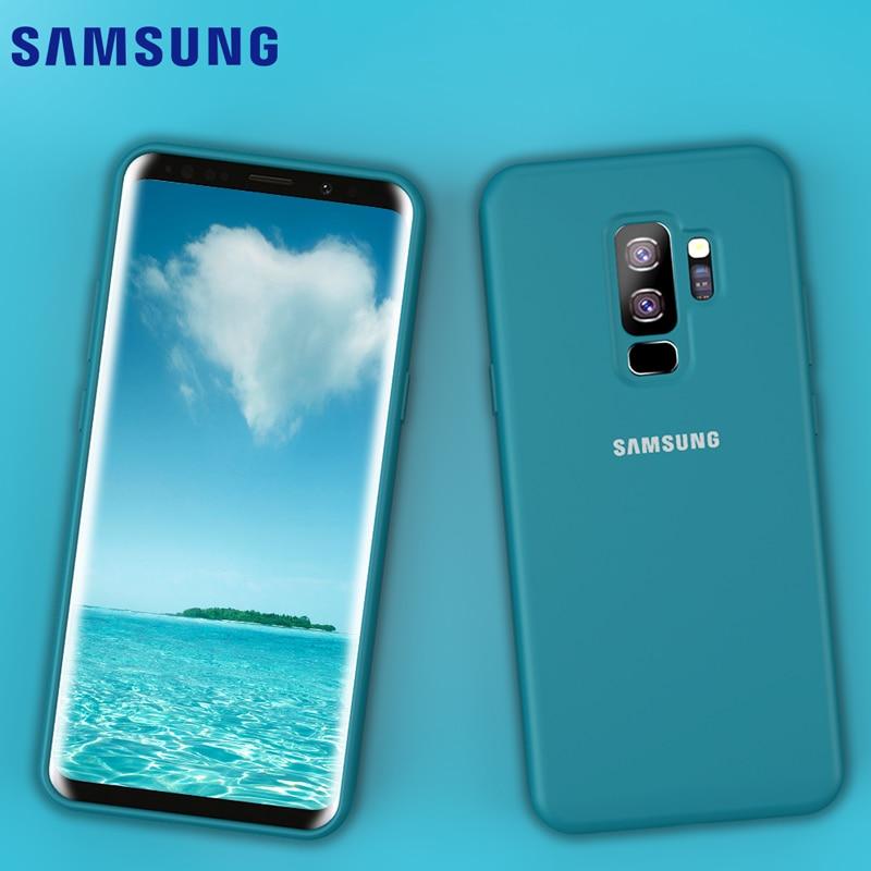 Samsung s9 caso oficial original sedoso líquido macio silicone cabido capa completa samsung galaxy s8 s9 plus caso & pacote de varejo