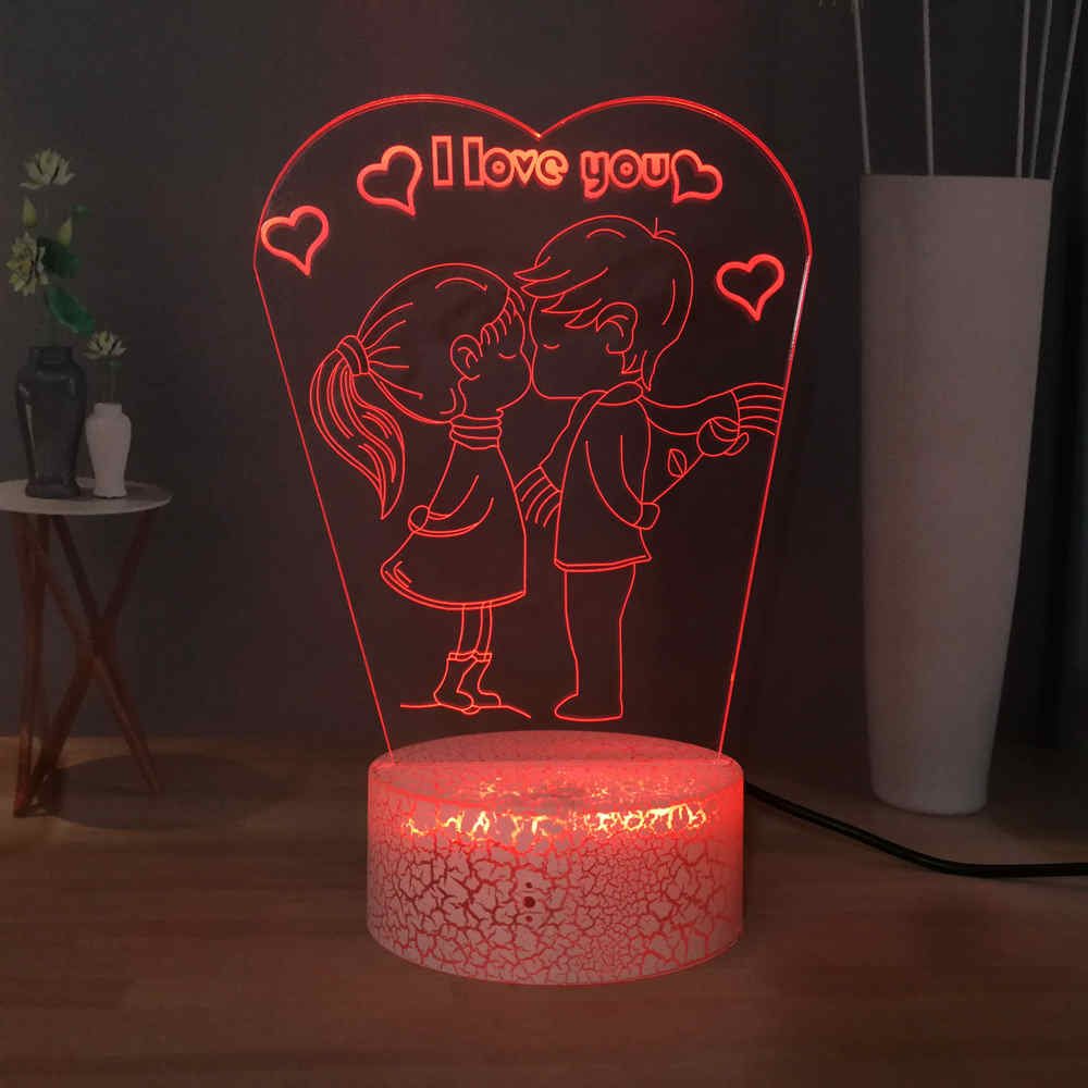 RGB 7colorful 3D Desk Lamp Cute Cartoon Lover's Kiss Sweet LED Girls Night Light MINI Lamp Romantic Gifts For Girlfriend Wife