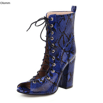 Olomm New Stylish Women Summer Ankle Boots Square High Heel Boots Peep Toe Gorgeous 5 Colors Party Shoes Women Plus US Size 3-16