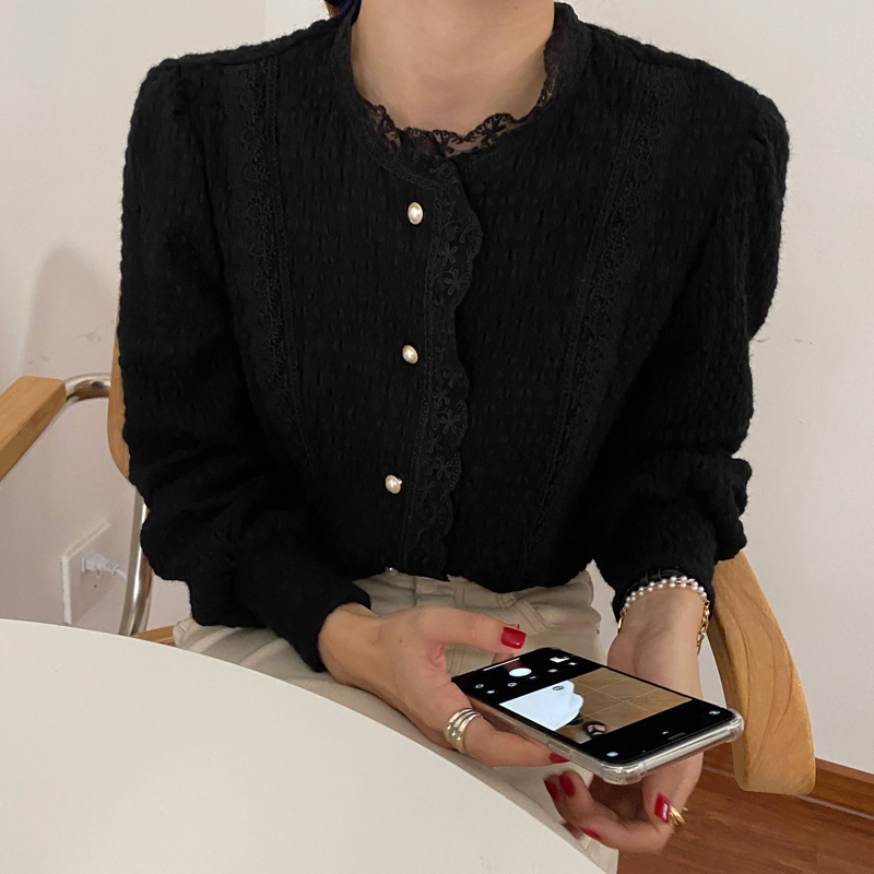 Hfc64d2df2d244754a7d7c53af0d28b975 - Spring / Autumn O-Neck Long Sleeves Lace Buttons Blouse