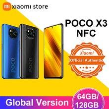 Akıllı telefon POCO X3 NFC küresel sürüm 6GB 128GB Snapdragon 732G 64MP dört kamera 6.67