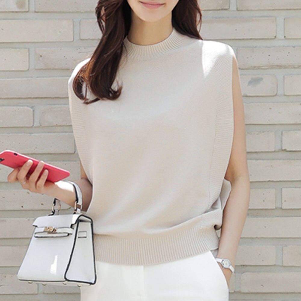 Korean Women Top Summer Elegant Vintage Office Ladies Loose Plain 2020 Japan Casual Girls Female Fashion Tank Tops Knitwear