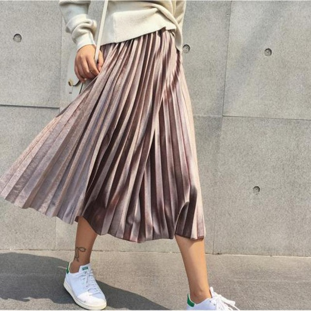 Spring 2019  High Waist Elascity Casual Party Skirt Vintage Women Long Metallic Silver Maxi Pleated Skirt Midi Skirt