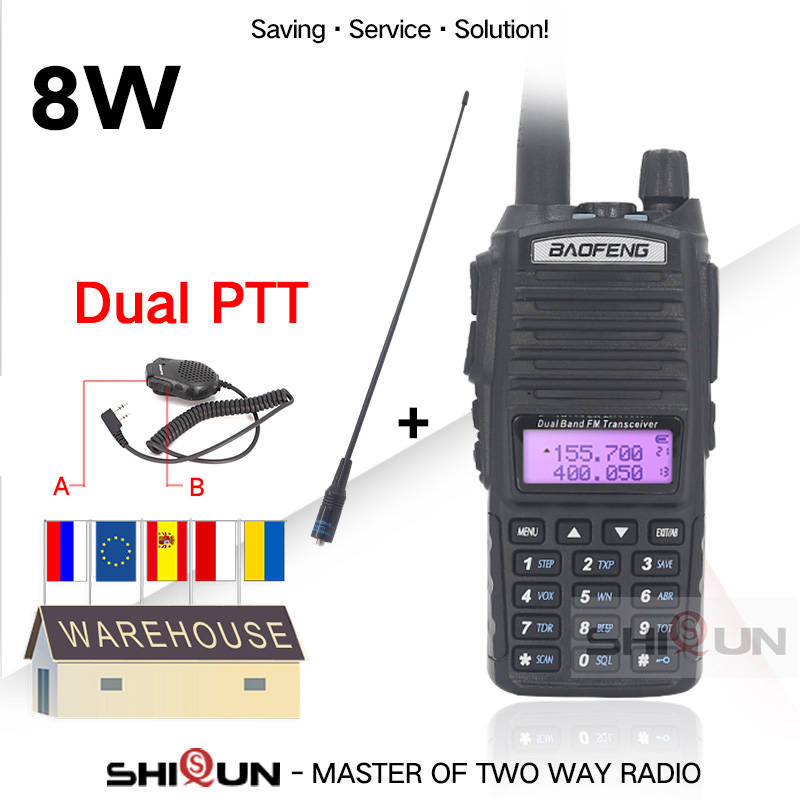 Radios Walkie-Talkie Ham Dual-Ptt Vhf/uhf UV82 Portable 8W Baofeng Two-Way 10KM High/mid/Low-tri-power-modes