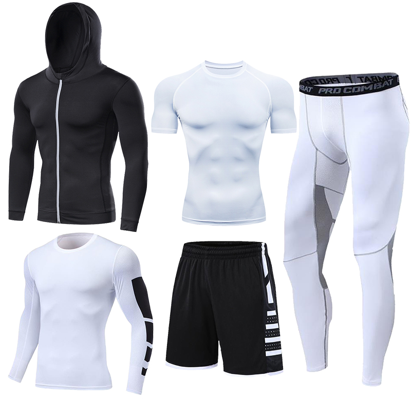 Dry Fit Men's Training Sportswear Set Gym Fitness Compression Sport Suit Jogging Tight Sports Wear Clothes 4XL5XL Oversized Male 5