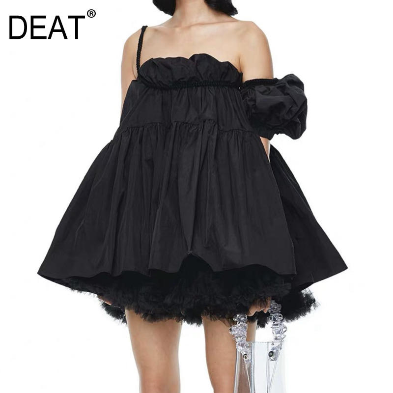 DEAT 2020 New Summer Fashion Women Slash Collar Off The Shoulder A-line Mini Sexy Sweet Dress Female Party Vestido WM12800L