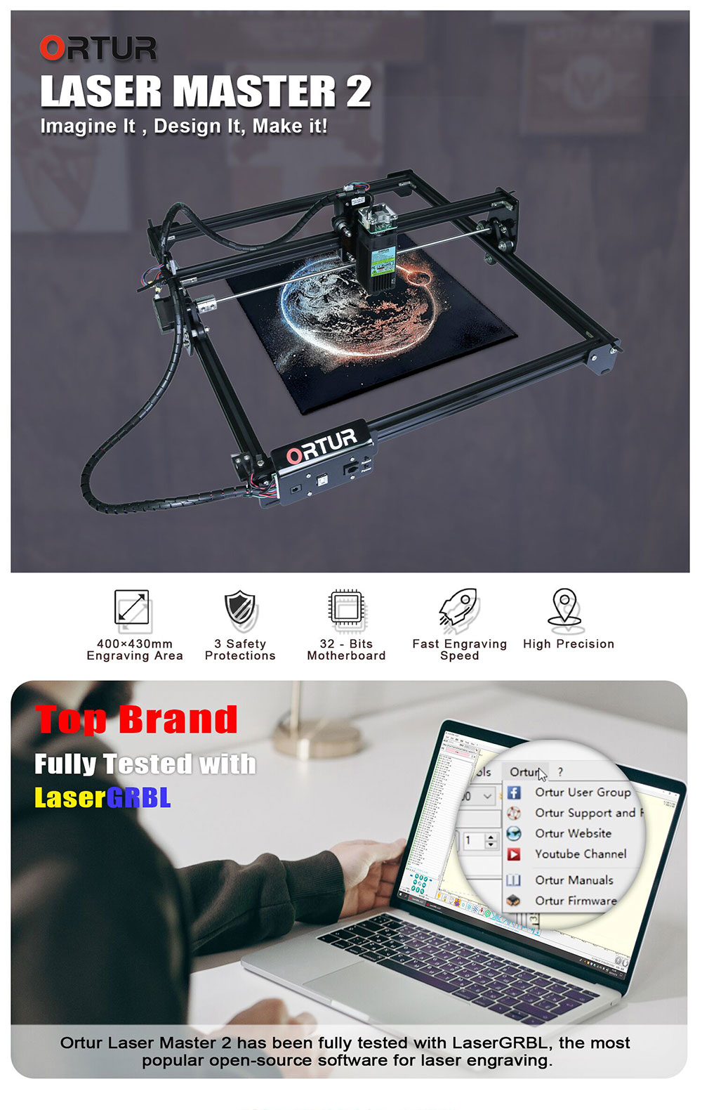 Hfc65778d71b542059346ec5248e9d7e1j Gravare / taiere laser Ortur Laser Master 2, 400x430 mm
