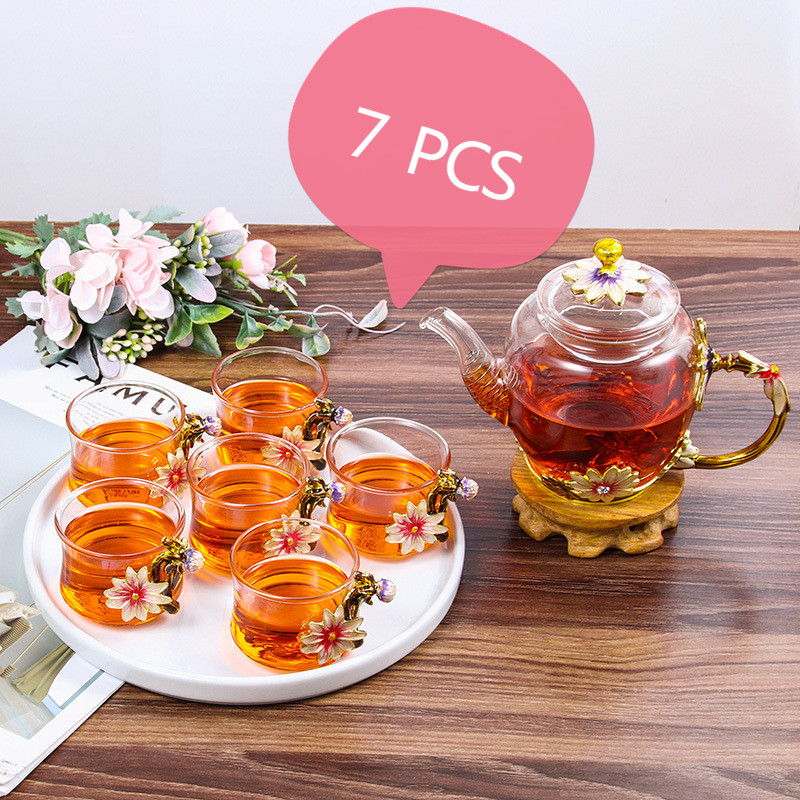7PCS Enamel Kung Fu Tea Teapot Cup Outfit Heat-resistant Crystal Glass Cups High-end Business Gifts Water Cup Set With Gift Box