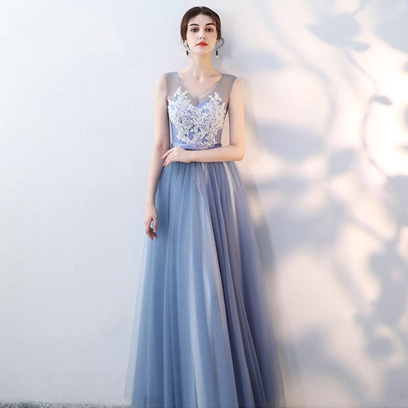 New Bridesmaid Dress Appliques A-Line Tea-Length Vestido De Festa O-Neck Women Elegant Gown Lace Top Wedding Party Dresses R029